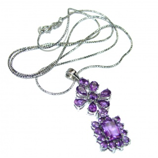Great genuine African Amethyst .925 Sterling Silver handmade Necklace