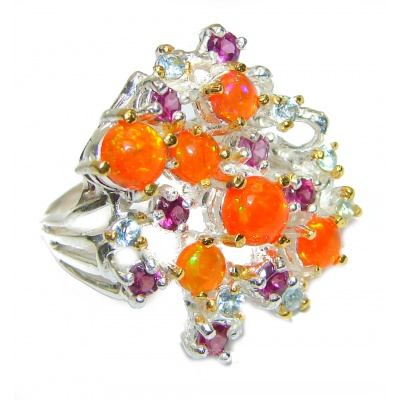 Golden Moon Genuine Mexican Fire Opal 18K Gold over .925 Sterling Silver handmade Ring size 7