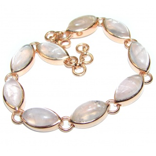 Natural Rose Quartz 14K Rose Gold over .925 Sterling Silver handmade Bracelet