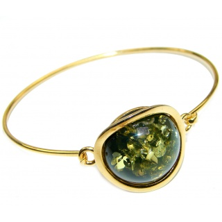 Gorgeous quality Green Polish Amber .925 Sterling Silver handcrafted Bracelet/Cuff