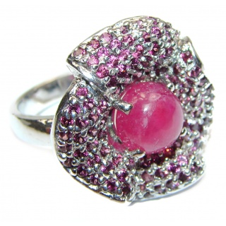 Red Rose Authentic Ruby Garnet .925 Sterling Silver Ring size 8 3/4