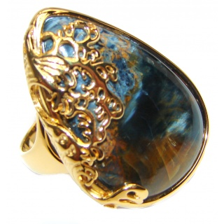 Huge Silky Golden Pietersite 18K Gold over .925 Sterling Silver handmade Ring size 8