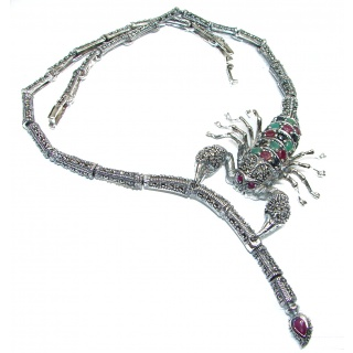 Large SCORPIO Genuine Ruby Emerald Sapphire Marcasite .925 Sterling Silver handmade handcrafted Necklace