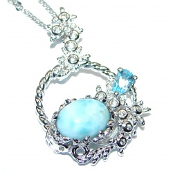 Authentic Larimar .925 Sterling Silver handmade Necklace
