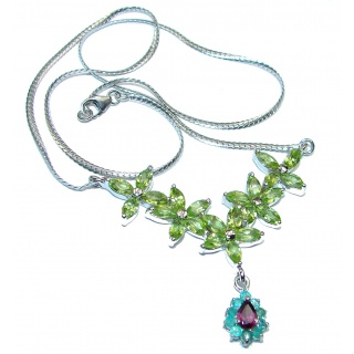 One of the kind authentic Peridot .925 Sterling Silver handmade necklace