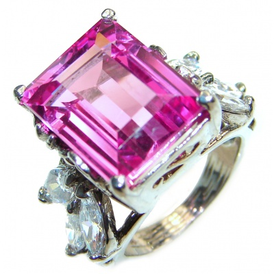 Vintage Design EMERALD CUT 12CT Pink Topaz .925 Sterling Silver handcrafted ring size 5 3/4