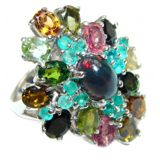 Vintage Design Genuine Black Opal Tourmaline .925 Sterling Silver handmade Ring size 7