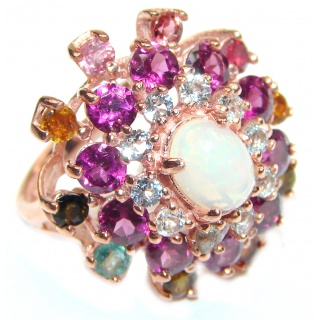 Dazzling natural Ethiopian Opal rose gold .925 Sterling Silver handcrafted ring size 9