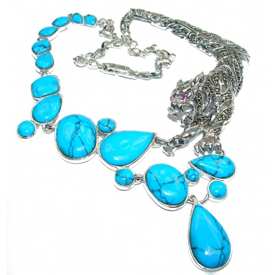 MASSIVE Panthere Genuine Turquoise Marcasite .925 Sterling Silver handmade handcrafted Necklace