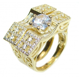 Spectacular authentic White Topaz yellow Gold over .925 Sterling Silver stack up ring; s. 8
