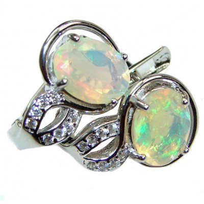 Earth Treasure Authentic Ethiopian Fire Opal .925 Sterling Silver handcrafted statement earrings