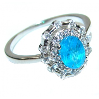 Genuine Swiss Blue Topaz .925 Sterling Silver handcrafted Statement Ring size 6 3/4
