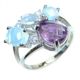 Sublime Amethyst Ethiopian Opal .925 Sterling Silver handcrafted ring s. 8 1/4