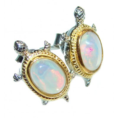 Good health and Long life Turtle Genuine Ethiopian Opal .925 Sterling Silver handmade earrings
