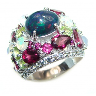 Vintage Design 5ctw Genuine Black Opal .925 Sterling Silver handmade Ring size 7 3/4