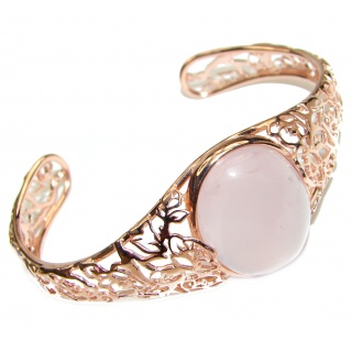 Incredible Genuine 28CTW Rose Quartz Rose quartz .925 Sterling Silver handcrafted Bracelet / Cuff