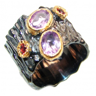 Purple Perfection Amethyst 2 tones .925 Sterling Silver Ring size 7 1/2
