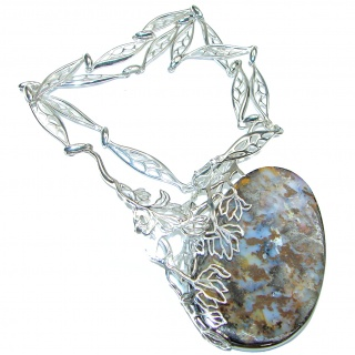 Natural Earth Mined Opaque Australian Boulder Opal oxidized .925 Sterling Silver handcrafted necklace
