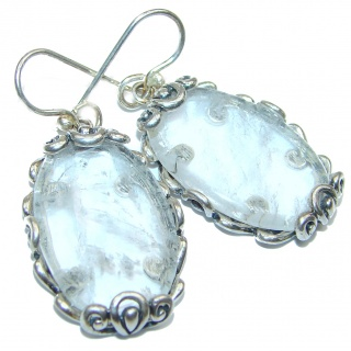 Perfect genuine White Crystal .925 Sterling Silver handmade earrings
