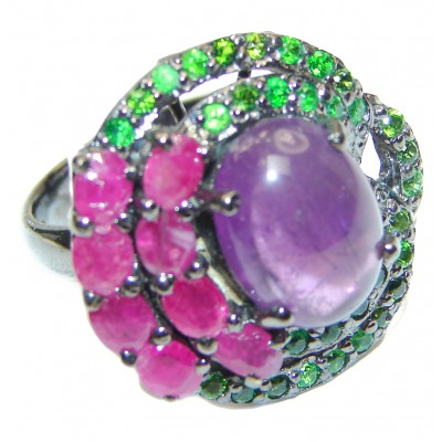 Victorian Style genuine Amethyst black rhodium over .925 Sterling Silver handcrafted Ring size 8 1/2
