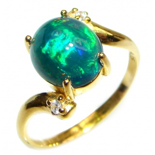 Vintage Design 2.4ctw Genuine Black Opal 14K Gold over .925 Sterling Silver handmade Ring size 8