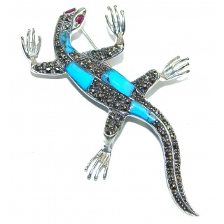 Spectacular Big Chameleon lizard Natural Turquoise .925 Sterling Silver handmade Pendant Pin
