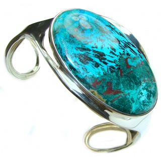 LARGE Genuine Parrot's wing Chrysocolla .925 Sterling Silver handmade Bracelet Cuff