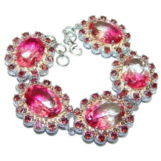 Large Luxury oval cut Pink Tourmaline Garnet .925 Sterling Silver handmade Bracelet