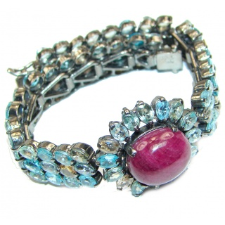 Authentic Spectacular Kashmir Ruby Swiss Blue Topaz .925 Sterling Silver handcrafted Bracelet