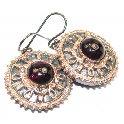 Huge Authentic Garnet rose gold .925 Sterling Silver handmade earrings