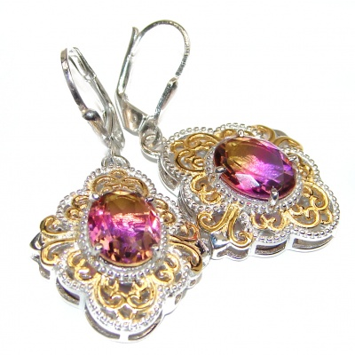 Vintage Style Ametrine 14K Gold over .925 Sterling Silver entirely handmade earrings