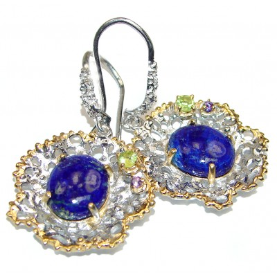Genuine Blue Lapis Lazuli 18K Rose Gold Rhodium .925 Sterling Silver handmade earrings