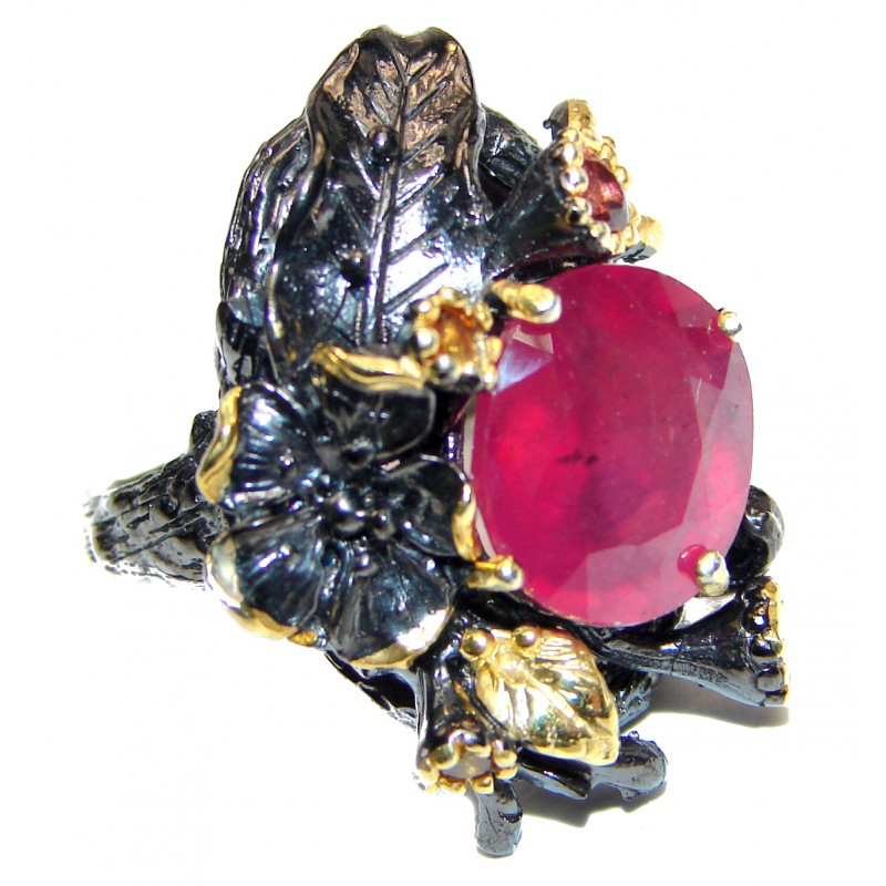 Genuine Ruby 18K Gold black rhodium .925 Sterling Silver handcrafted Statement Ring size 8 3/4