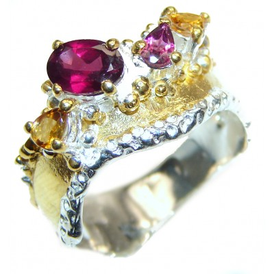 Genuine Garnet 14K Gold over .925 Sterling Silver handcrafted Statement Ring size 8 1/2