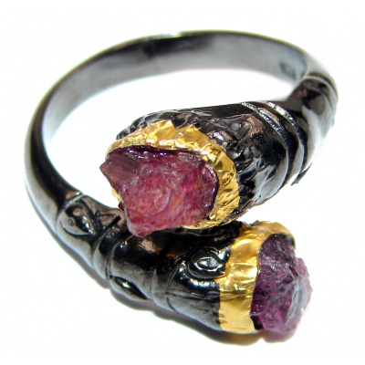Authentic Rough Ruby black rhodium over 2 tones .925 Sterling Silver Ring size 8 3/4