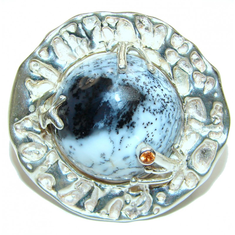 Massive 37.7 grams Dendritic Agate .925 Sterling Silver Ring size 7