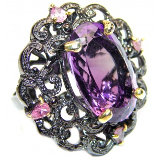 Authentic 85ctw Amethyst black rhodium over .925 Sterling Silver brilliantly handcrafted ring s. 8