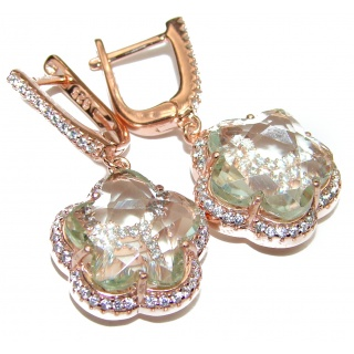 Exclusive Green Amethyst rose gold over .925 Sterling Silver Earrings