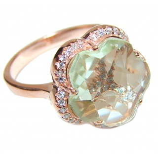 Green Amethyst rose gold over .925 Sterling Silver handcrafted ring s. 8