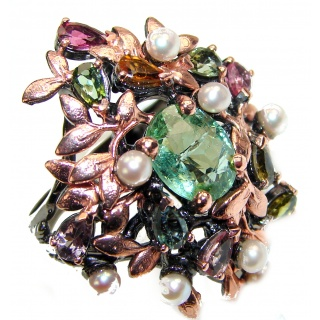 Large Chunky oval cut 25ctw Green Amethyst rose gold over .925 Sterling Silver handcrafted ring s. 9