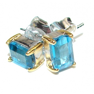 Swiss Blue Topaz 2 tones .925 Sterling Silver handcrafted earrings