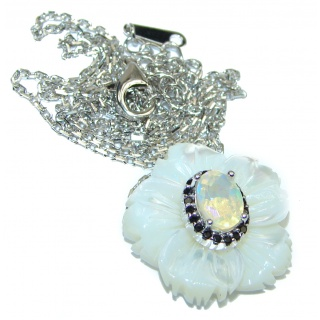 Ethiopian Opal Mother of Pearl .925 Sterling Silver handmade Necklace