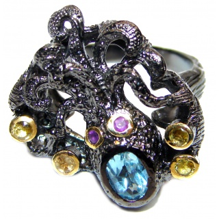 Huge Swiss Blue Topaz Octopus black rhodium over .925 Sterling Silver Ring s. 8