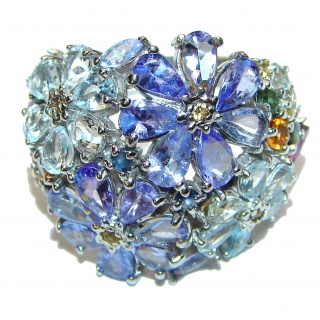 Bouquet of Flowers Authentic Tanzanite .925 Sterling Silver handmade Ring s. 8