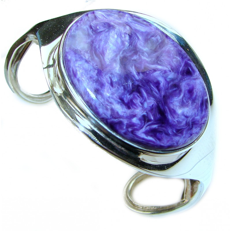 Incredible Genuine Siberian Charoite .925 Sterling Silver handcrafted Bracelet / Cuff