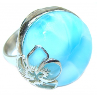 Aqua Natural Dominican Republic Larimar .925 Sterling Silver handcrafted Ring s. 7 adjustable