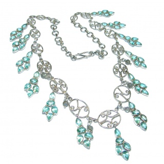 Cleopatra Blue Quartz Topaz .925 Sterling Silver handmade necklace