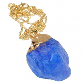 20 inches genuine Rough blue Quartz Gold over .925 Sterling Silver handmade Necklace