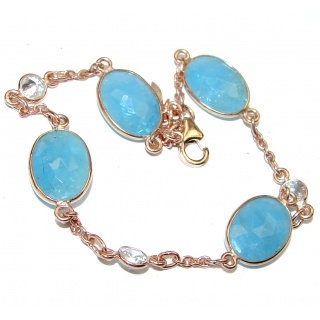 Genuine Aquamarine .925 Sterling Silver handcrafted Bracelet