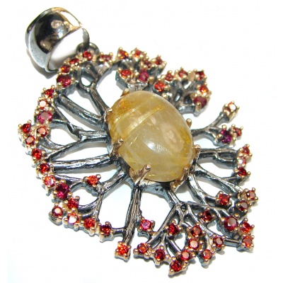 Himalayan Treasure Golden Rutilated Quartz 18K Gold over .925 Sterling Silver Pendant